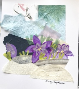 Green Rain art collage spring crocuses