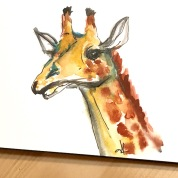 green rain art giraffe watercolor