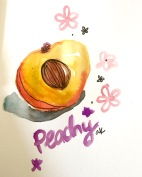 green rain art peach watercolor