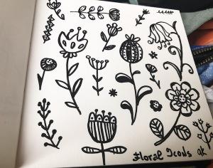 flower doodles green rain art