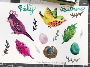 Green rain art watercolor birds mats home decor