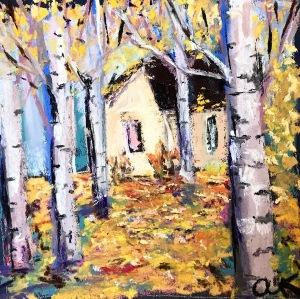 autumn woods green rain art pastel