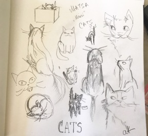 cats doodles green rain art