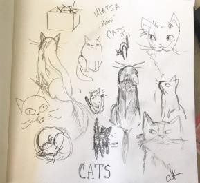 cats doodles green rain art