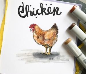 Chicken illustration green rain art copic markers
