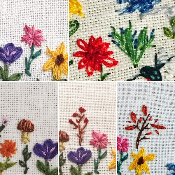 embroidered garden september green rainart