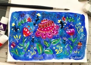 folk art flower composition gouache greenrainart