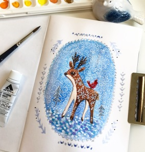 gingerbread deer gouache drawing greenrainart