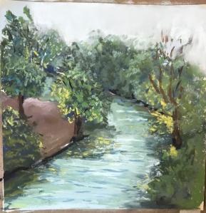 Green rain art foggu landscape pastel