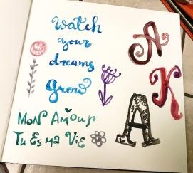 green rain art lettering