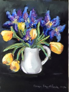 irises and tulips pastel green rain art