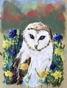 Owl in the meadow green rain art pastel