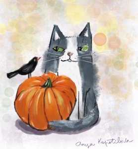 pumpkin cat illustration green rain art
