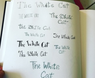 white cat lettering green rain art