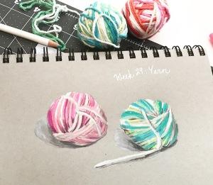 yarn green rain art colored pencils