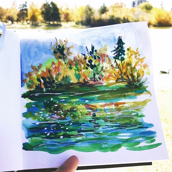 autum by the pond watercolor sketch greenrainart