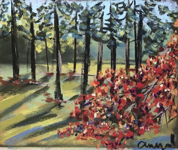 autumn grove soft pastel greenrainart