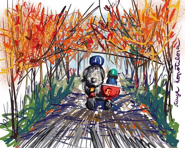 autumn ride greenrainart