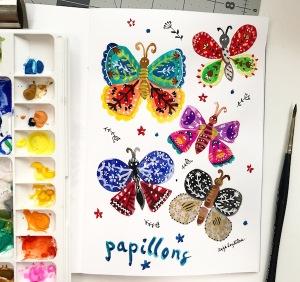 butterflies folk art greenrainart