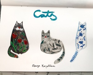 folk art cats 2 green rain art