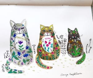 folk art cats green rain art