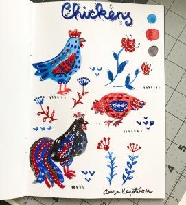 folk art chickens