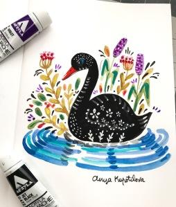 folk style black swan gouache greenrainart