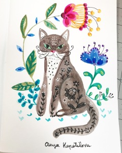 folk style cat greenrainart
