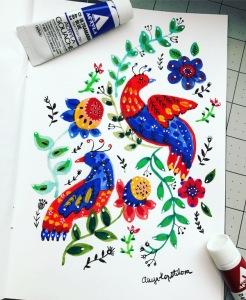 green rain art folk birds gouache