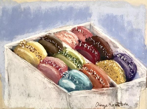 macaroons pastel painting