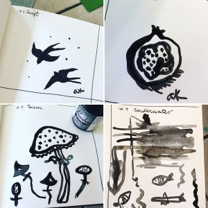 inktober days 1-4 green rain art