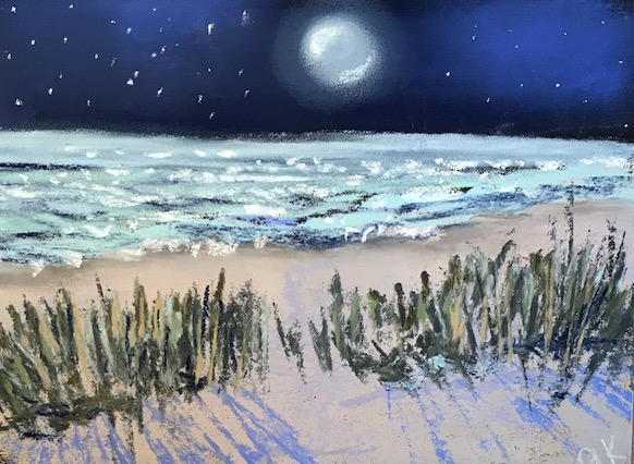 moonlit beach greenrainart pastel