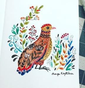 pheasant folk style greenrainart