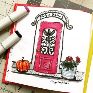 pink door sketch greenrainart