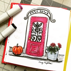 pink door sketch greenrainart