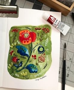 poppy folk art greenrainart