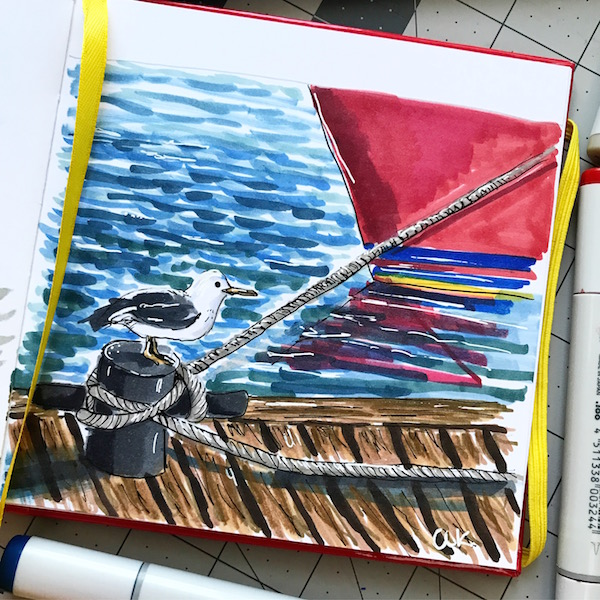 Rope ties the boat copic illustration green rain art