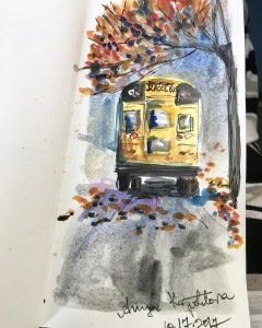 school bus watercolor greenrainart