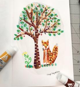 tree and fox folk art greenrainart