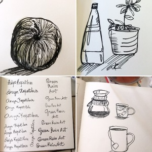 1 minute sketches plus logotype greenrainart