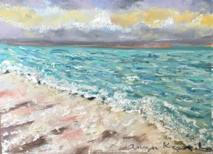 blue sea greenrainart pastel