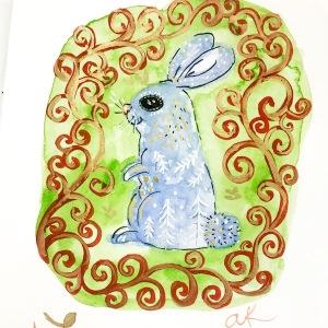 bunny folk sketch greenrainart