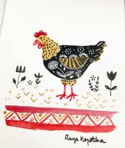 folk style chicken greenrainart