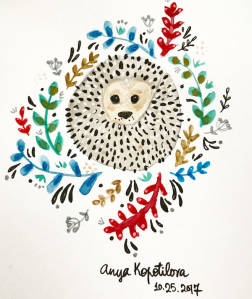 folk style hedgehog greenrainart
