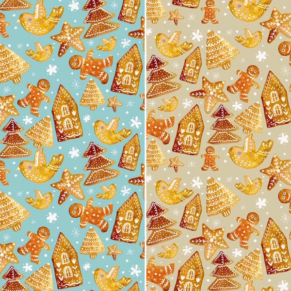 gingerbread pattern greenrainart