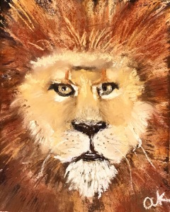 lion soft pastel greenrainart