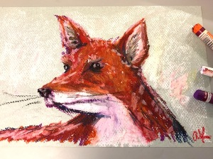 oil pastel fox sketch greenrainart