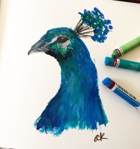 peacock oil pastel sketch greenrainart