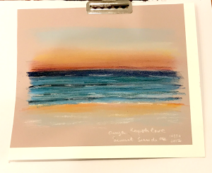 Sunset at Seaside soft pastel pencil greenrainart