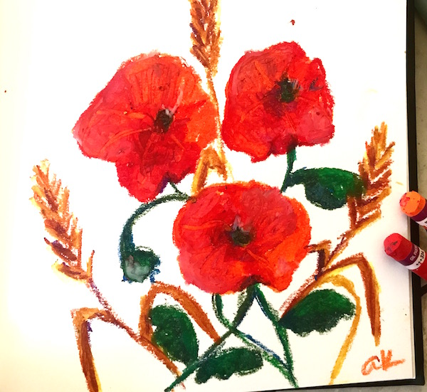 poppies oil pastel greenrainart